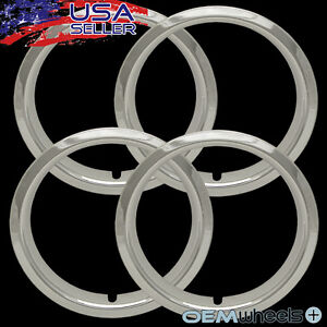 4 15 Chrome Trim Rings Chevy El Camino 1 5 Deep Beauty Steel Wheels Abs
