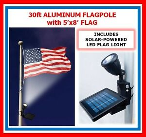 30ft Flagpole One Pc. Commercial Aluminum Pole w SOLAL FLAG LIGHT  $1,749.95