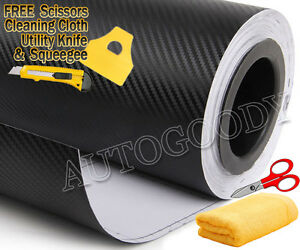24 X 60 Black Carbon Fiber Vinyl Film Wrap 3d Bubble Free Air Release 2ftx5ft