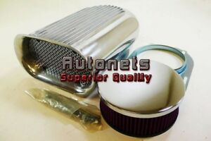 Washable Polish Aluminum Hillborn Fin Hood Scoop Air Cleaner Single 4bbl Blower