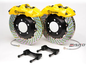 Brembo Front Gt Brake Bbk 6piston Caliper Yellow 355x32 Drill Disc Mustang 94 04