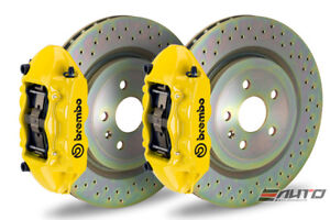 Brembo Front Gt Brake Bbk 4pot M Caliper Yellow 355x32 Drill Disc Mustang 05 13