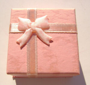 1579pk Gift Box Ring Studs Paper Pink Peach With Ribbon Bow 1 Qty