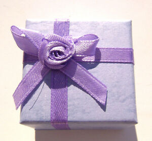 1502pk Gift Box Ring Studs Paper Lavender Purple With Ribbon Bow