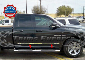 Fit 2009 2018 Dodge Ram Quad Cab 4pc Flat Body Side Molding Trim 1 5