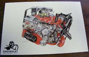 1955 Chevrolet 265 Cid One Hundred Years Engine Illustrations By David Kimble