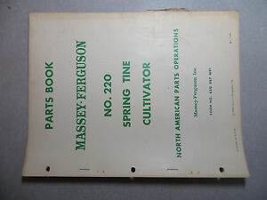 Massey Ferguson No 220 Spring Tine Cultivator Parts Book