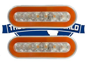 2 Led 6 Amber Oval Truck trailer Stop Tail Turn Lights W Clear Lens