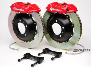 Brembo Rear Gt Brake 4pot Caliper Red 345x28 Slot Rotor For Sti Legacy Gt 3 6r