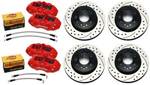 Wilwood Disc Brake Set D8 4 Red Calipers Drilled Rotors 65 82 Corvette C 2 C 3