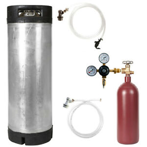 Nitro Keg Kit 5 Gal Ball Lock Keg 20 Cu Ft Nitrogen Tank Homebrew Cold Brew
