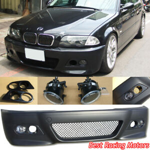 M3 Style Front Bumper Glass Fog Dual Hole Covers Fit Bmw E46 4dr 3 Series