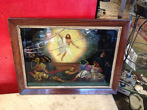 Antique Reverse Painted Glass The Resurrection In Rosewood Frame