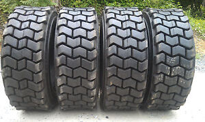 4 New 10x16 5 Skid Steer Tires 10 16 5 10 Ply Rating heavy Duty Non Directional