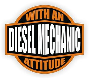 Diesel Mechanic With An Attitude Tool Box Decal Toolbox Sticker Label