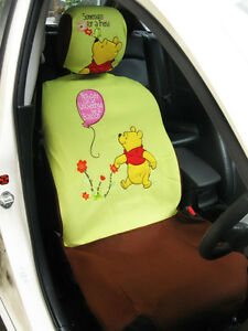 Winnie The Pooh Disney 2 Pcs Car Seat Cover Head Rest Cover For 1 Seat lime