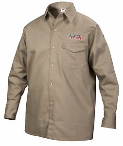 Lincoln Khaki Fire Retardant Fr Welding Shirt Size Large K3382 l