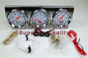 Chrome Steel Oil Pressure Voltage Water Temperature Triple Mechanical Gauge Kit