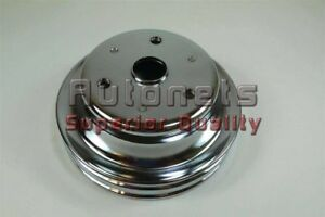 Chrome Small Block Chevy Sbc Crankshaft Pulley Double 2 Groove Long Water Pump
