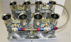 Small Block Chevy 48ida Weber Kit W Manifold Linkage 4 Genuine 48 Ida Webers