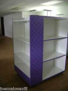 Retail Shelving Rack 4 Sided White Purple Box Shoe Display W Mirror