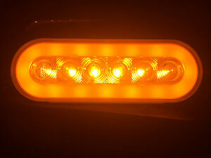 2 Led 6 Oval Truck Trailer Turn Tail Lights With Amber Lens Amber