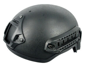 New Airsoft Tactical Hunting MICH 2001 Helmet with Side Rail & NVG Mount Black