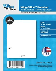 Po07 Premium Self adhesive Blank Shipping Labels 8 5x5 5 For Usps Paypal Ups Fed