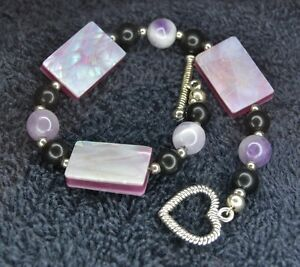Sterling Silver Scrap Not 13 Grams Marbled Pink Stone Heart Clasp Bracelet 7 5