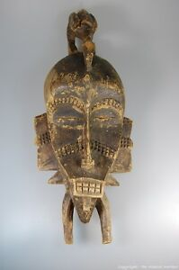 Senufo Kpelie African Cote D Ivoire Tribal Mask Figure And Bird On Top 20
