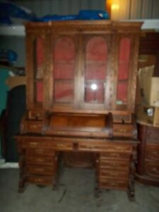 Monumental Victorian Renisance Walnut Four Door Cylinder Secretary Desk