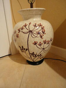 Large Vintage Mcm Pottery Table Lamp Hollywood Regency Asian Oriental Style