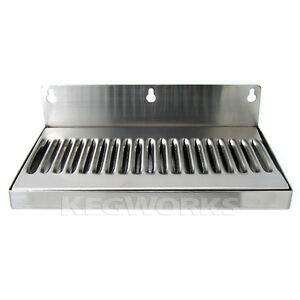 10 Wall Mount Drip Tray Stainless Steel No Drain Bar Draft Bar Beer Spill