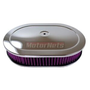 12 Washable Chrome Stamp Steel Oval Air Cleaner Filter 4barrel Chevy Ford Mopar