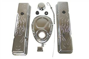 Sbc Small Block Chevy 283 350 Engine Dress Up Kit Flame Tall Chrome Timing Stick
