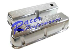 Sbf Polished Flamed Aluminum Valve Covers 289 302 351w 5 0l Mustang Falcon