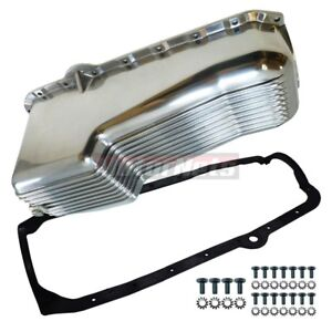 Sbc Small Block Chevy Finned Aluminum Oil Pan W Gasket Bolts 2 piece 1980 85