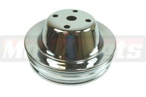 Chevy Sbc Chrome 2 Groove Long Water Pump Pulley 283 327 350 400 Lwp Small Block