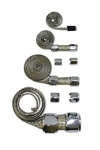 Stainless Braided Hose Cover Kit W Chrome Clamp Cover Hot Street Rod Chevy Ford