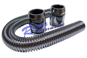 24 flexible Stainless Radiator Hose Kit W Chrome Aluminum Cap Chevy Ford Sbcbbc