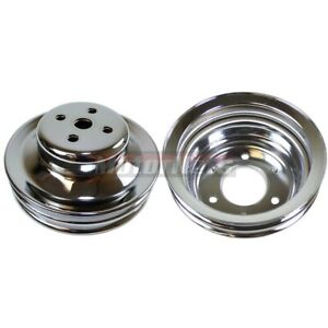 Small Block Ford 289 Mustang Chrome 2 Groove Water Pump Crankshaft Pulley Sbf