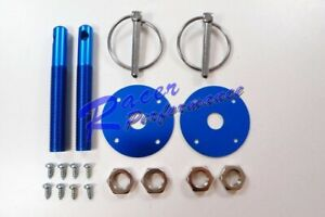 Blue Aluminum Hood Pin Kit Flip Over Chevy Ford Gm Hot Rod Muscle Car Drag Race