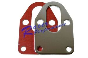 Chrome Sb Chevy Fuel Pump Mounting Plate With Gasket 283 327 350 Small B