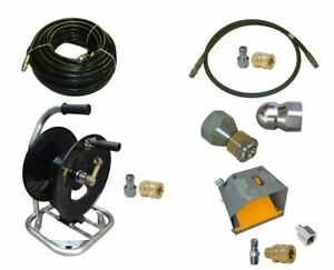Sewer Jetter Cleaner Kit Foot Valve 100 X 3 8 Hose Reel And Nozzles