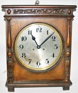 Antique Wall Wind Up Clock Alix Made Wooden Wood Work Good Watch