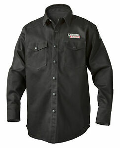 Lincoln Black Fire Retardant Fr Welding Shirt Size Medium K3113 m