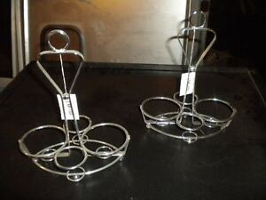 Lot 2 Chrome Table top Sauce Caddies Great For Indian Restaurant Must Sell