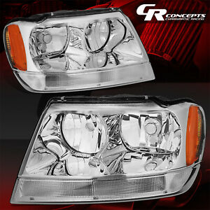 Pair Chrome Housing Amber Sied Headlights Lh Rh For 99 04 Jeep Grand Cherokee Wj