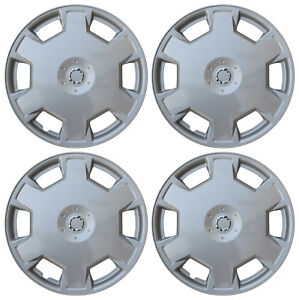 4 Piece Set Silver Lacquer Hub Caps Fits 15 Inch Steel Wheels Wheel Cover Cap