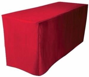 5 Ft Fitted Polyester Table Cover Trade Show Booth Banquet Dj Tablecloth Red